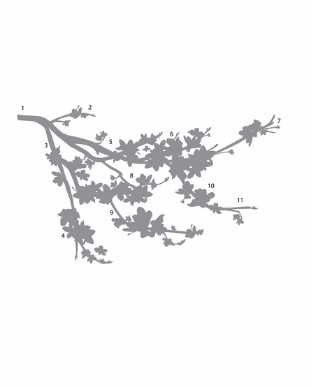 Gray Blossom Branch Wall Decals