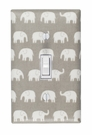 Gray Elephant Light Switch Plate Cover
