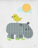 Gray Hippo and Bird Canvas Wall Art