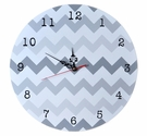 Gray Ombre Chevron Wall Clock