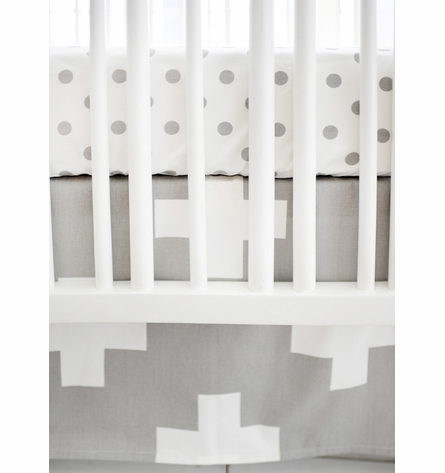 Gray Swiss Cross Crib Bedding Set By New Arrivals Inc