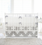 Gray Swiss Cross Crib Bedding Set