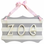 Gray Wooden Stripe Personalized Name Plaque