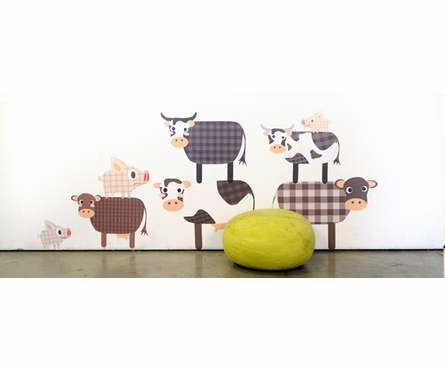 Grazing Cows Fabric Wall Decals