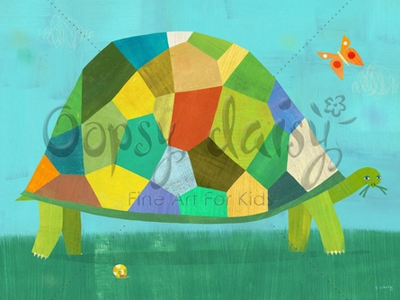 Grazing Tortoise Canvas Wall Art
