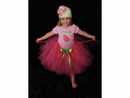 Green and Candy Pink Peony Cotton Hat