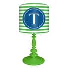 Green & Blue Striped Monogram Lamp