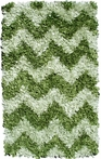 Green Chevron Shaggy Raggy Rug