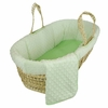 Green Dimple Velour Moses Basket Set