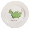 Green Dinosaur on White Personalized Ceramic Dish Collection
