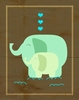 Green Elephant Love Canvas Wall Art