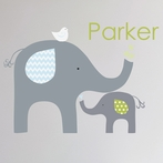Green Elephant Love Fabric Wall Decal