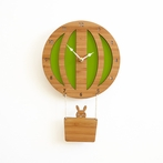 Green Hot Air Balloon Wall Clock
