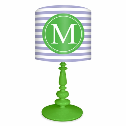Green & Lavender Striped Monogram Lamp