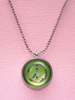 Green License Plate Peace Sign Necklace
