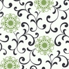 Green Medallion Scroll Wallpaper