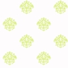 Green on White Damask Dot Wallpaper