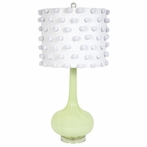 Green Opaque Squash Base Lamp With White Pom Pom Drum Shade