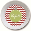 Green Ornament Personalized Melamine Bowl