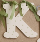 Green Polka Dot Wooden Mix & Match Wall Letter