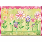 Green Row of Flowers Canvas Wall Art