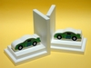 Green Stock Car Bookends with White Base