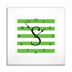 Green Stripe Wall Clock in Wide Frame