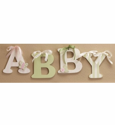 Green Striped Wooden Mix & Match Wall Letter