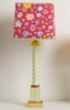 Green Tall Twist Lamp With Swiss Dots And Red Woodstock Square Shade