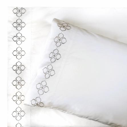 On Sale Grey Embroidered Hollywood Sheet Set