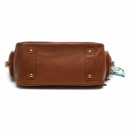 Grommet Diaper Bag in Toffee and Ivory