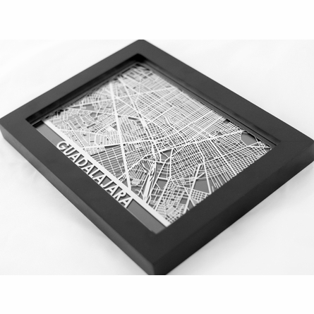 Guadalajara Stainless Steel Framed Map