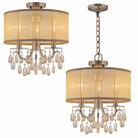 Hampton Antique Brass Crystal Chandelier with Silk Shade