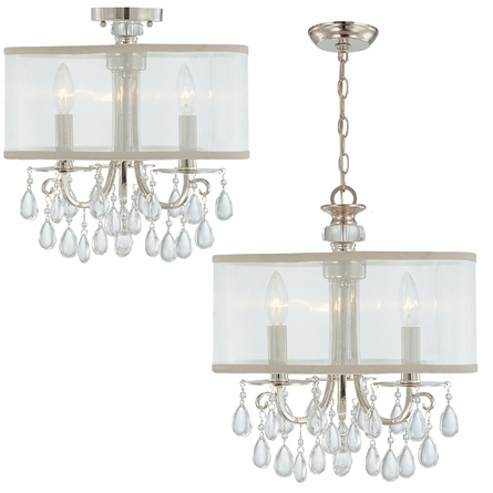 Hampton Chrome Crystal Chandelier with Silk Shade
