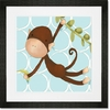 Hanging Monkey Blue Framed Art Print