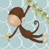 Hanging Monkey in Blue Canvas Wall Art