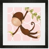 Hanging Monkey Pink Framed Art Print