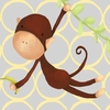 Hanging Monkey Yellow and Grey Canvas Wall Art
