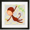 Hanging Monkey Yellow and Grey Framed Art Print