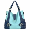 Hannah Diaper Bag - Baby Blue and Navy