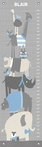 Happy Animal Herd Gray & Blue Growth Chart