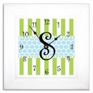 Happy Blue & Green Wall Clock with Wide Frame