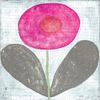 Happy Flower Vintage Art Print on Wood