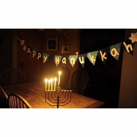 Happy Hanukkah Winter Holiday Flag Banner