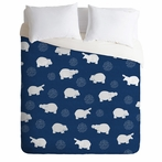 Happy Hippo Blue Duvet Cover