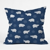 Happy Hippo Blue Throw Pillow