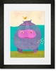 Happy Hippo Framed Art Print