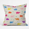 Happy Hippo Party Throw Pillow