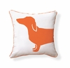 Happy Hot Dog Reversible Throw Pillow in Orange and White