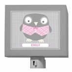 Happy Owl Gray & Pink Night Light